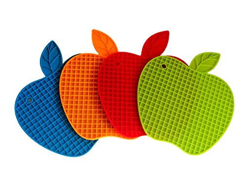 BlueSkyBos 4 Pack All Blue Apple-Shape Silicone Non-Slip Potholder/Trivet/Mat and a Stainless Steel Veggie Swivel Peeler with Plastic Handle, Plus an Awesome eBook for Healthy Cooking ()