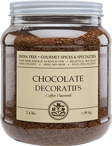 India Tree Coffee Flavored Chocolate Decoratifs, Canister, 2.4 Pound