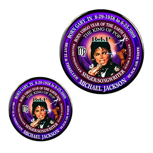 Chinese Zodiac Virgo - Michael Jackson RIP Rock-N-Roll Singer Magnet + Pin Born Virgo Zodiac Earth Dog