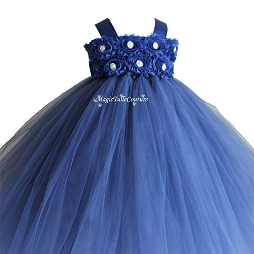 Girls' Fluffy Flower Girl Wedding Tulle Tutu Dresses 2 Rows 3D Rose Flowers with Tied Bow at Back (9-12 months, Navy Blue)