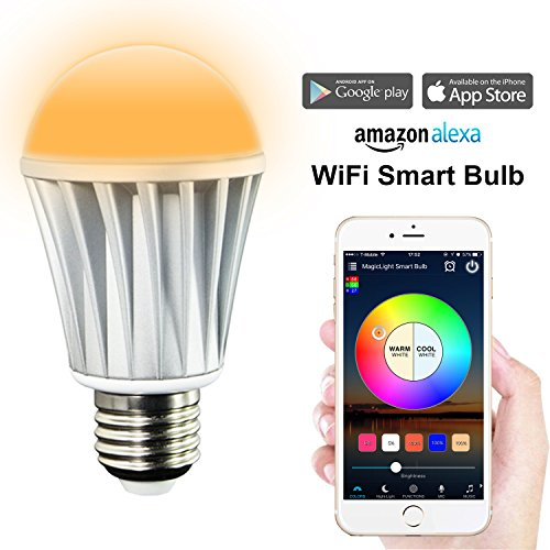 MagicLight WiFi Smart Light Bulb - Smartphone Controlled Sunrise Wake Up Lights - 60w Equivalent Dimmable Multicolored Color Changing Night Light - Works with Alexa