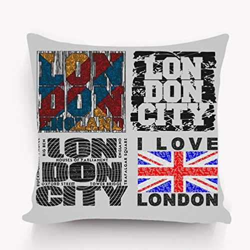 WiNjTyMOYO Throw Pillow Cushion Cover Set London Design