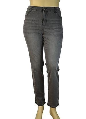 Alfa Global Women's Plus Size Skinny Stretch Denim Washed Pants (24, 107HeatherGrey)