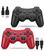 Wireless Controller for PS3 Playstation 3 Dual Shock 3 (2 Packs, Black and Red)