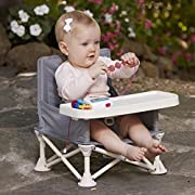 hiccapop OmniBoost Travel Booster Seat with Tray for Baby | Folding Portable High Chair for Eating, Camping, Beach, Lawn, Grandma's | Tip-Free Design Straps to Kitchen Chairs or Pop and Sit Anywhere