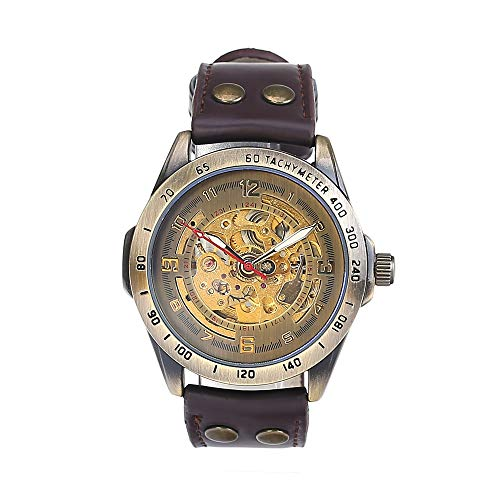Beauty7 Men Antique Steampunk Style Automatic Mechanical Analog Wrist Watch Self-Winding Bronze Case Skeleton Hollow Transparent Back Brown Genuine Leather Band Strap Sport Model 2