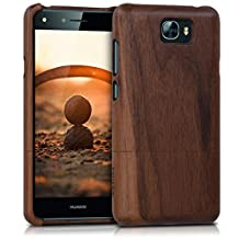 kwmobile Natural wood case for the Huawei Y6 II Compact (2016) in walnut dark brown