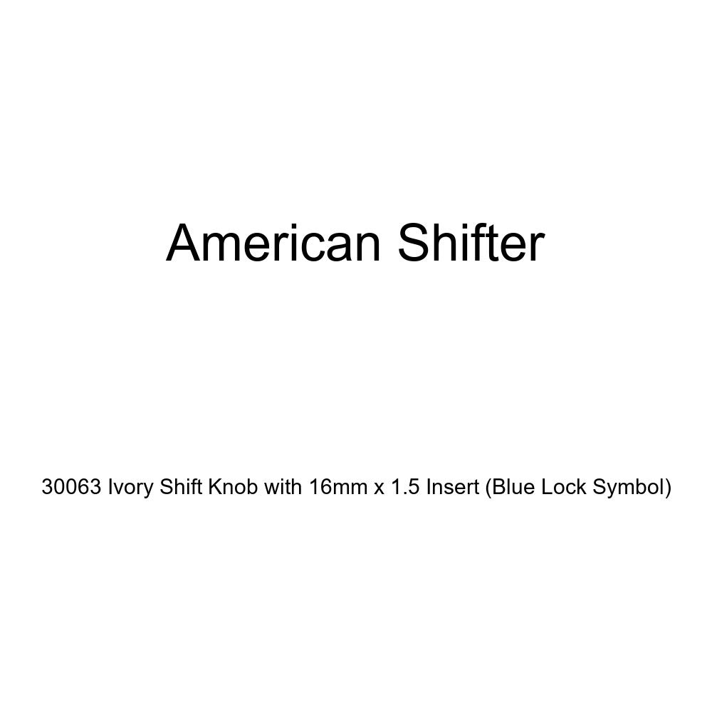 American Shifter 30063 Ivory Shift Knob with 16mm x 1.5 Insert Blue Lock Symbol