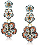 Miguel Ases Blue Quartz Three-Flower Drop Earrings