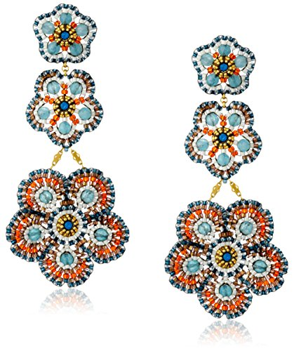 Miguel Ases Blue Quartz Three-Flower Drop Earrings by Miguel Ases