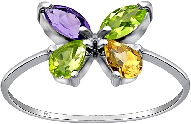 0.25 Carat Lemon Quartz Traditional Sterling Silver Ring for Women by Orchid Jewelry