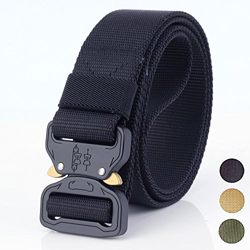 Tactical Belt Nylon Webbing, Military Style Webbing Riggers Web Belt with Heavy-Duty Quick-Release Metal Cobra Buckle By Fatefulness  (Black)