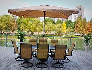 9pc Cast Aluminum Swivel Patio Furniture Set With Slat Top Table And Umbrella Patio