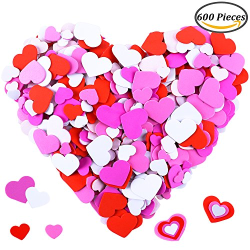 Resinta 600 Pieces Foam Heart Stickers Self-adhesive Heart Shapes Stickers for Valentine's Day Decoration, Assorted Colors and Sizes (Felt Shape Heart)