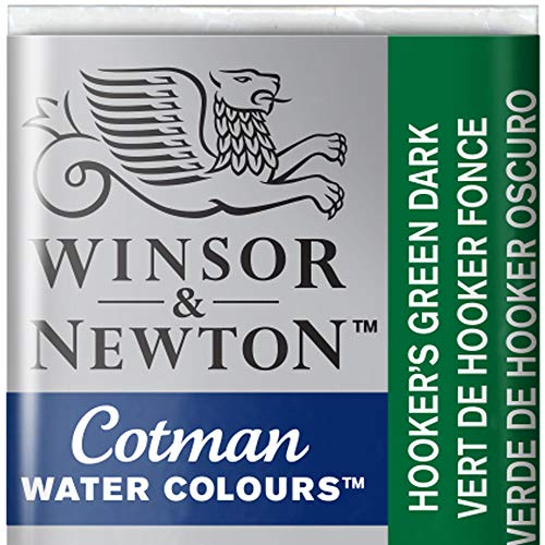 Green Watercolour - Winsor & Newton Cotman Watercolour Paint Half Pan - Hookers Green Dark 312