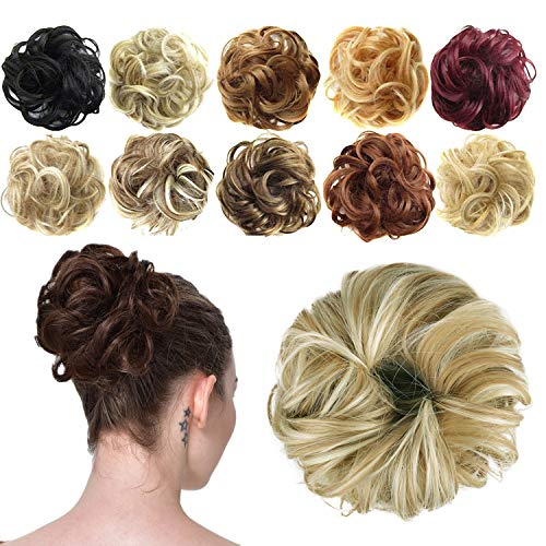 FESHFEN Synthetic Hair Bun Extensions Messy Hair Scrunchies Hair Pieces for Women Hair Donut Updo Ponytail 16h613 Light Ash Brown amp Bleach Blonde