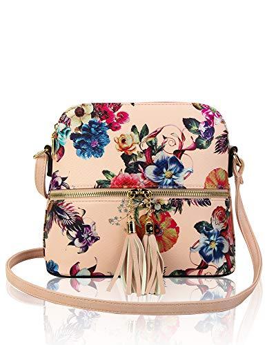 x Print Women's Pink With x 9cm Bag Tassel Handbag 21cm Crossbody Shoulder Redfox Floral 20cm Small ETdHwEqz