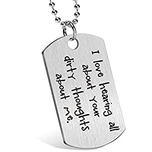 Gift for Boyfriend Husband Personalized Dating Whisper Dog Tag Necklace Pendant Naughty Words Jewelry Couples Keychain Gift for Valentine's Day Anniversary Birthday (♥uh huh)