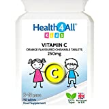 Health4All Kids Vitamin C 250mg Orange Flavour Chewable 180 Tablets (V) | 100% VEGAN | 3-12 years | Free UK Delivery