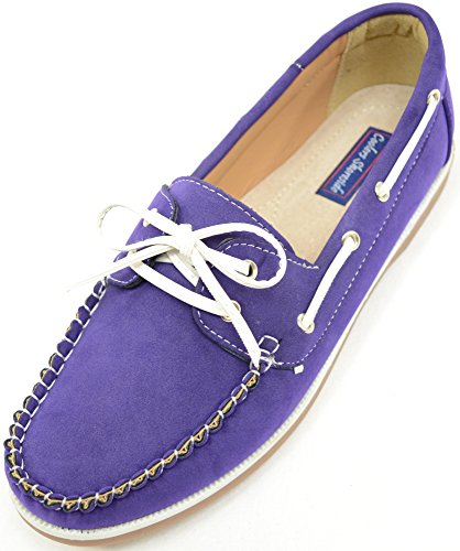 Ladies / Womens Casual / Smart Summer / Holiday / Boat Shoes Purple aj93k8