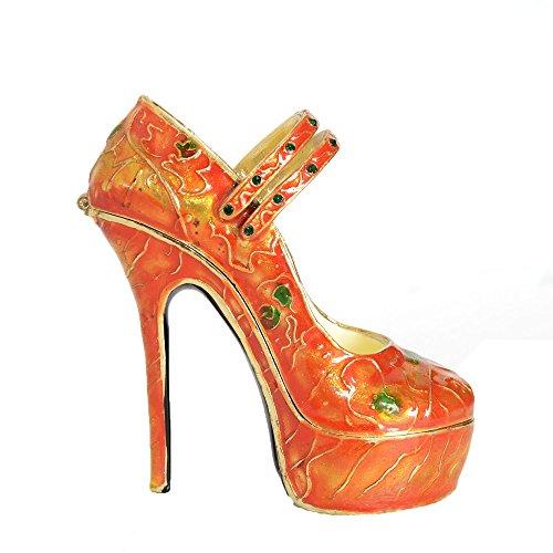 Bejeweled Crystal Trinket Box - Ladies High Heel Shoe Collectible Enamel Trinket Box Crystals Bejeweled Giftware