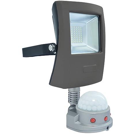 Wonderlamp Proyector LED para Exterior con Sensor de Movimiento, 20 W, Gris, 32.5