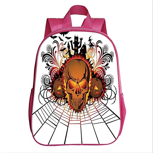 Halloween Decorations Kindergarten Shoulder Bag,Angry Skull Face on Bonfire Spirits of Other World Concept Bats Spider Web for Child,9.4''Lx4.7''Wx11.8''H