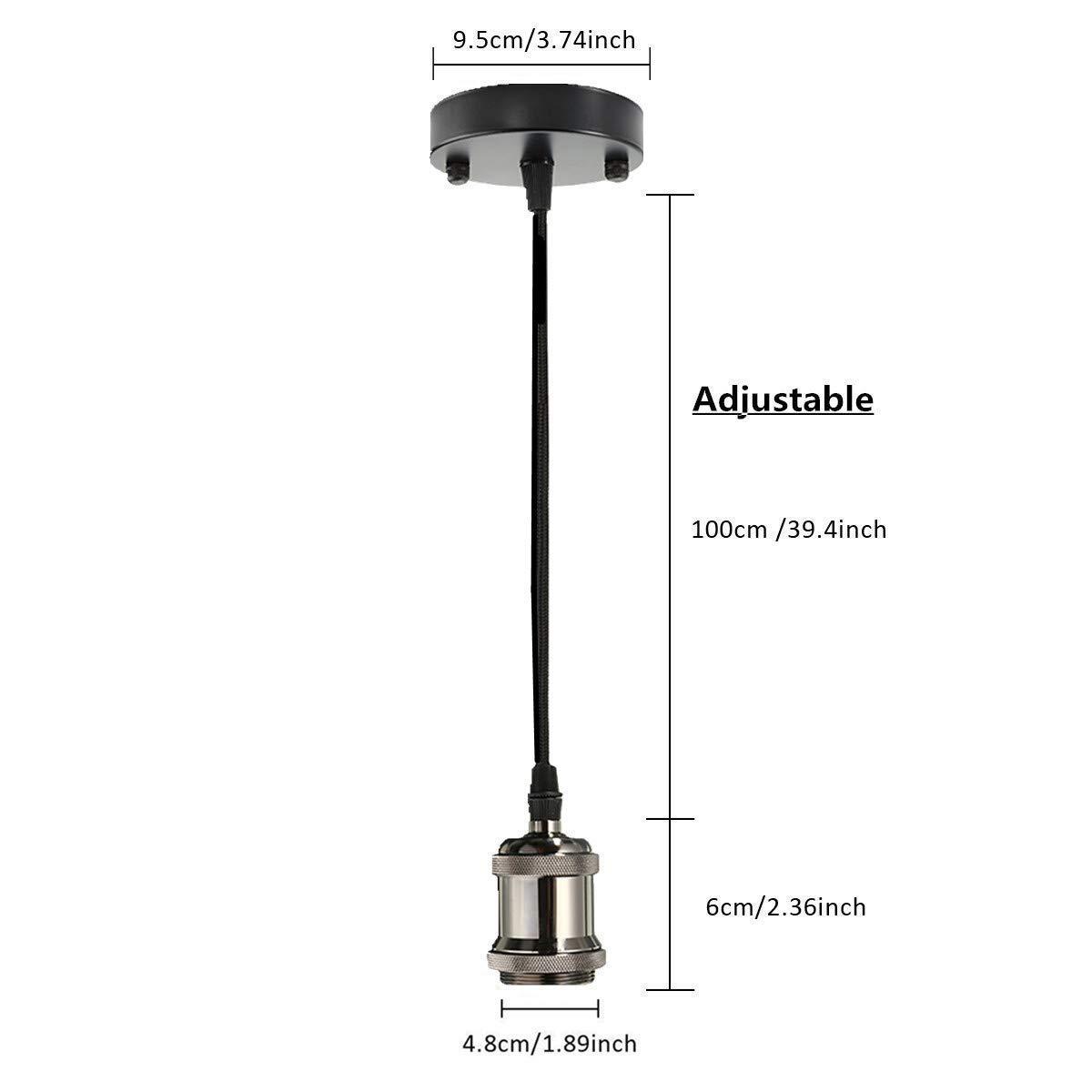 KINGSO E27 Lustre Suspension Vintage Retro Culot de Lampe Edison Antique 110-250V Adaptateur de Douille Cuivre avec C/âble de 1m Laiton Mat
