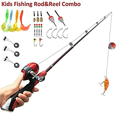 Kids Fishing Pole Spincast Reel Easiest Kids Fishing Rod 55 inches with Tackles Ready to Go by SYL