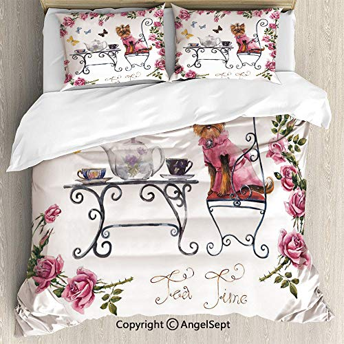 (3 Piece Duvet Cover Set, (1 Quilt Cover 2 Pillow Shams)Yorkshire Terrier in Pink Dress Having a Tea Party Tea Time Butterflies Roses Decorative,Queen Size,For Bedroom,guest room,Pale Pink White)