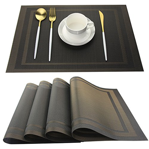 Bright Dream Placemats for Kitchen Woven Vinyl Table Placemat Heat-resistand Table Plastic Mats Set of 4 (Gold+Black)