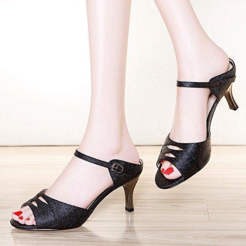 femmes amp; chaussures 5 femme haut pour Soirée HAIZHEN CN37 4 Couleur pour talon été taille Chaussures tenue la femmes Sandales Noir Pour Or décontractée Party EU37 UK4 E6pqWd