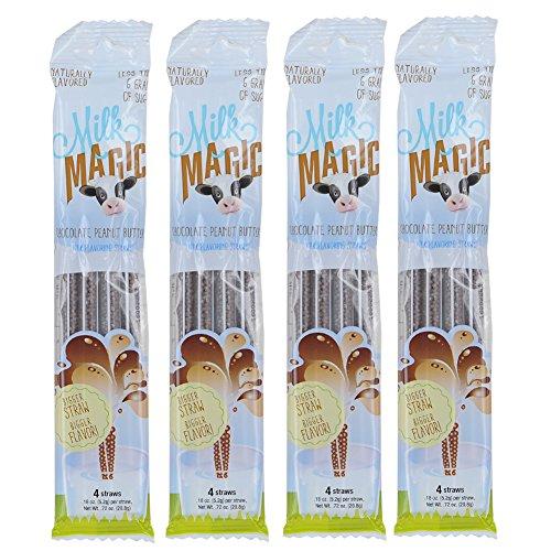 Milk Magic Milk Flavoring Straws, 4 straws per pack Chocolate Peanut Butter Bundle (4 Pack)
