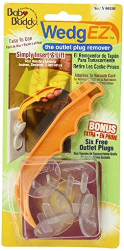 Baby Buddy WedgEZ Outlet Plug Remover with 6 Bonus Plugs, Orange/Clear from Baby Buddy