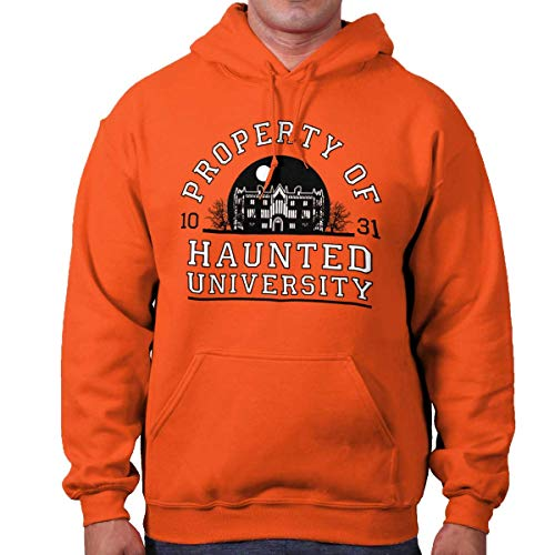 Brisco Brands Haunted University College Halloween Scary Hoodie Orange ()