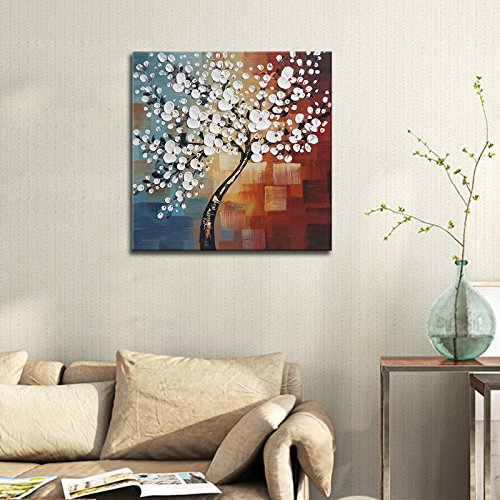 Wieco Art Morning Glory Modern Abstract White Flowers Oil Paintings on Canvas Wall Art 100% Hand Painted Floral Artwork for Living Room Bedroom Home Office Decorations Wall Decor
