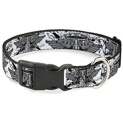 Buckle-Down Plastic Clip Collar - Phoenix Shield White - 1/2