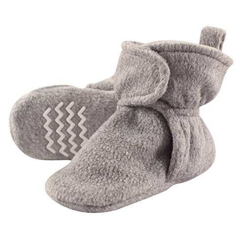 Hudson Baby Baby Cozy Fleece Booties with Non Skid Bottom, Heather Gray, 0-6 Months