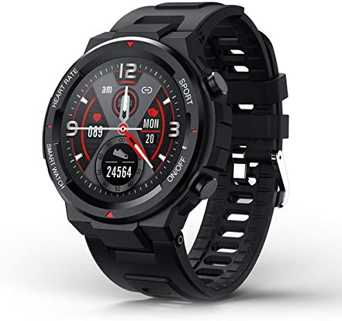 """SANAG Smart Watch for Android and iOS Phones, HR Blood Pressure Sleep Monitor, Steps Counter, IP67 Waterproof Fitness Tracker with Message Reminder, 1.28"""" Touch Screen Bluetooth Smartwatch for Men"""