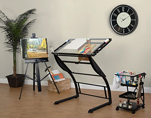 Charcoal Clear Glass - Studio Designs 10088 Triflex Drawing, Sit/Stand Up ADJ Desk, Charcoal/Clear Glass