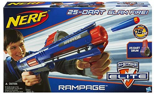 51BEkppMyXL - Nerf Rampage N-Strike Elite Toy Blaster with 25 Dart Drum Slam Fire and 25 Official Elite Foam Darts For Kids, Teens, and Adults