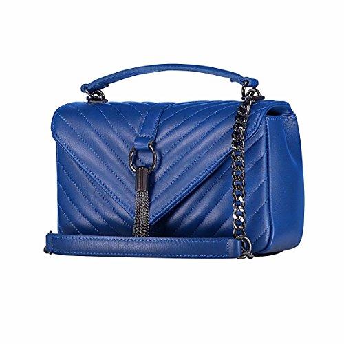élégant à sac à bandoulière Chevron sac chaîne main véritable cobalt à avec italien monogramme size cuir bandoulière tout fourre matelassé sac EVA à Bleu sac sac Medium matelasse main de ZRxWtw7q