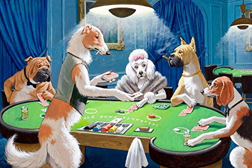 Play Dog Poker (Wall art Canvas HD Print Animals Dogs Play Poker Oil painting Picture Printed on canvas (No Stretch, No Frame) (16x24 inch))