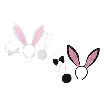 F Fityle 2 Sets Girls Pink Black Lindo Disfraz De Conejo De ...