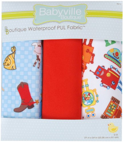 Babyville Boutique Package PUL Fabric, Cowboy and Robots (Cowboy Robot)