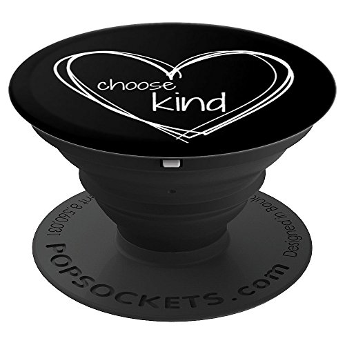 Choose Kind Anti-Bullying (White Hearts on Black Background) - PopSockets Grip and Stand for Phones and Tablets