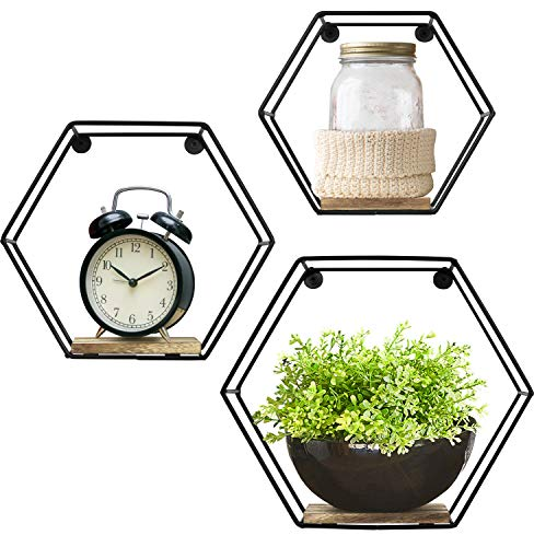 Greenco Geometric Hexagon Shaped Mounted Floating, Home Decor, Metal Wire and Rustic Wood Wall Storage Shelves for Bedroom, Living Room, Bathroom, Kitchen and Office – Set of 3 - Set of 3 hexagon geometric floating shelf designed of durable metal wire and rustic paulownia wood. Add a stylish yet contemporary look to your room with these beautiful aesthetically looking shelves, suits almost any décor. An ideal wall decoration for your kitchen dining room, living room, bedroom, apartment, dorm room, or office. - wall-shelves, living-room-furniture, living-room - 51BElu6HRVL -