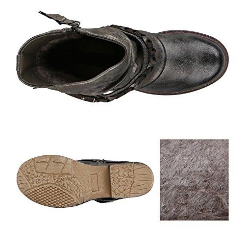Nieten Boots Schnallen Metallic Damen Flandell Biker Stiefeletten Blockabsatz Grau mit Flechte Stiefelparadies Y0qtww