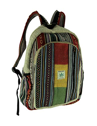 Boho Festival Stripe Rasta Blocks Pure Hemp Backpack