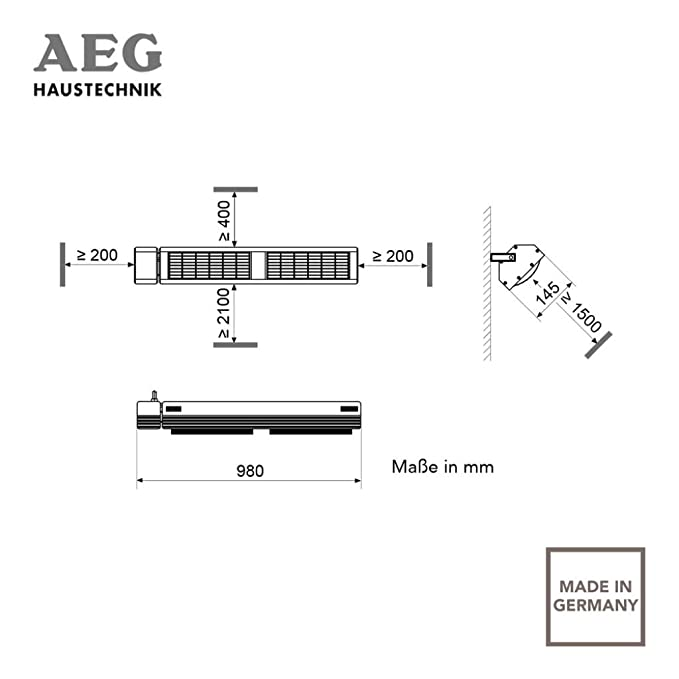AEG 229956 IR Premium Plus 3024 - Estufa por infrarrojos de onda corta (3000 W, 230 V, IP 24), color blanco: Amazon.es: Hogar